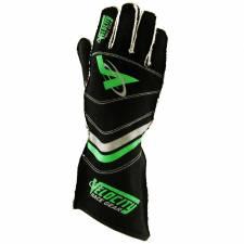 Velocity Race Gear - Velocity 5 Race Glove - Black/Silver/Fluo Green