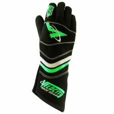 Velocity Race Gear - Velocity 5 Sprint Glove - Black/Silver/Fluo Green