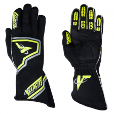 Velocity Race Gear - Velocity Fusion Glove - Black/Fluo Yellow/Silver - Large