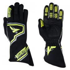 Velocity Race Gear - Velocity Fusion Glove - Black/Fluo Yellow/Silver - Medium
