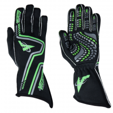 Velocity Race Gear - Velocity Grip Glove - Black/Fluo Green/Silver - Medium