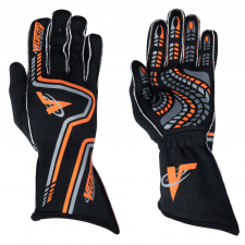 Velocity Race Gear - Velocity Grip Glove - Black/Fluo Orange/Silver - Large