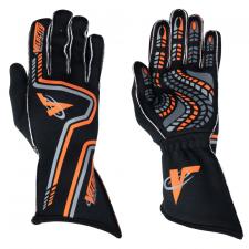 Velocity Race Gear - Velocity Grip Glove - Black/Fluo Orange/Silver - Small