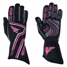 Velocity Race Gear - Velocity Grip Glove - Black/Fluo Pink/Silver - Large