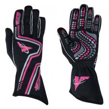 Velocity Race Gear - Velocity Grip Glove - Black/Fluo Pink/Silver - Large