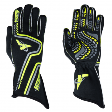 Velocity Race Gear - Velocity Grip Glove - Black/Fluo Yellow/Silver - Large