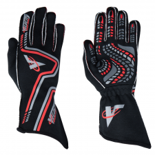 Velocity Race Gear - Velocity Grip Glove - Black/Silver/Red - Large