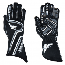 Velocity Race Gear - Velocity Grip Glove - Black/White/Silver - Medium