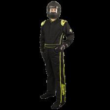 Velocity Race Gear - Velocity 5 Race Suit - Black/Fluo Yellow - Large