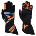 Racing Gloves - Velocity Race Gear - Velocity Fusion Glove - Black/Fluo Orange/Silver