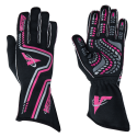 Racing Gloves - Velocity Race Gear - Velocity Grip Glove - Black/Fluo Pink/Silver
