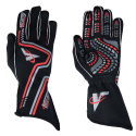 Racing Gloves - Velocity Race Gear - Velocity Grip Glove - Black/Silver/Red