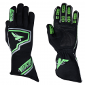Racing Gloves - Velocity Race Gear - Velocity Fusion Glove - Black/Fluo Green/Silver - Medium