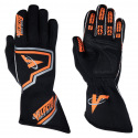 Racing Gloves - Velocity Race Gear - Velocity Fusion Glove - Black/Fluo Orange/Silver - Small