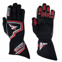 Racing Gloves - Velocity Race Gear - Velocity Fusion Glove - Black/Silver/Red - Medium