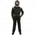Velocity Race Gear - Velocity 1 Sport Suit - Black/Fluo Green - Large - Image 3