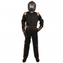Velocity Race Gear - Velocity 1 Sport Suit - Black/Fluo Orange - Large - Image 3