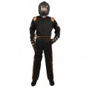 Velocity Race Gear - Velocity 1 Sport Suit - Black/Fluo Orange - X-Large - Image 3