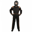 Velocity Race Gear - Velocity 1 Sport Suit - Black/Fluo Orange - XX-Large - Image 2