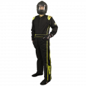 Racing Suits - Velocity Race Gear - Velocity 1 Sport Suit - Black/Fluo Yellow - Small